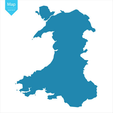 Illustration for Abstract - High Detailed blue Map of Wales isolated on white background. for your web site design map logo, app, ui, Travel vector illustration eps10. - Royalty Free Image