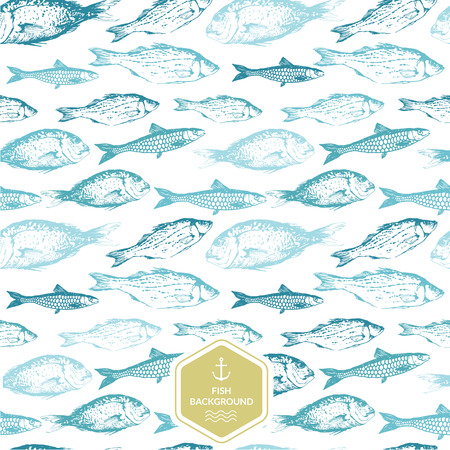 Seamless background of drawn sketches of fish. Blue & green hand-drawn illustration.のイラスト素材