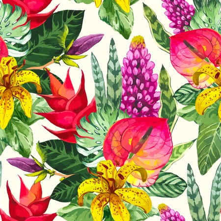 Beautiful seamless background with tropical flowers and plants on white. Composition with yellow lily, anthurium and monstera leaves.