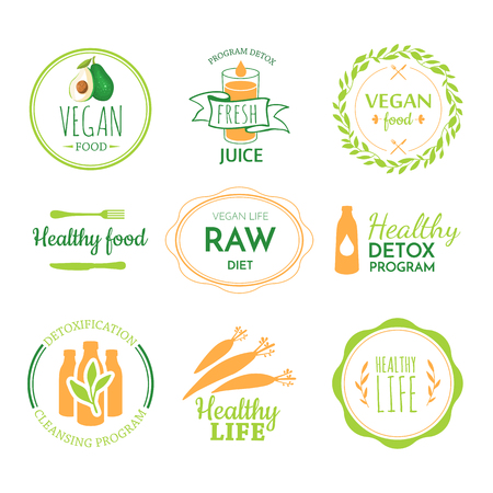 Raw food diet. Healthy lifestyle and proper nutrition. Vector label. Detox logo.