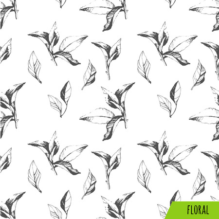 Vector green and white pattern. Floral pattern. Green pattern with tea leaves.
