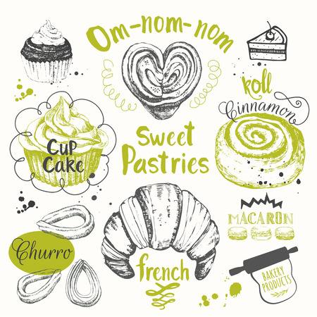 Set Of Hand Drawn Cake Churros Croissants Muffins Fresh Organic