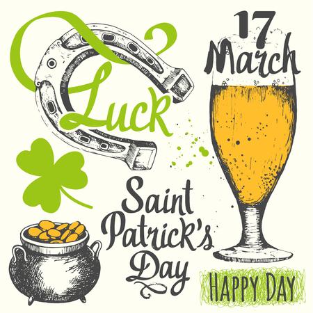 illustration with glass of beer, bottle, cylinder, pipe, leaf of clover and congratulations. Drink menu for celebration.