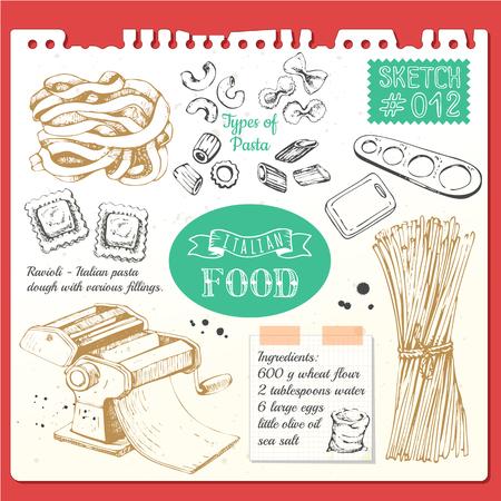 Illustration pour Vector illustration with pasta machine, pasta, ravioli. Sketch designon white background. - image libre de droit
