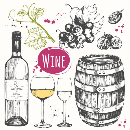 Illustrazione per Vector illustration with wine barrel, wine glass, grapes, grape twig.  Classical alcoholic drink. - Immagini Royalty Free