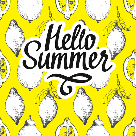Ilustración de Fruit summer pattern with lemon on yellow background. Sketch style. Fresh organic food. - Imagen libre de derechos