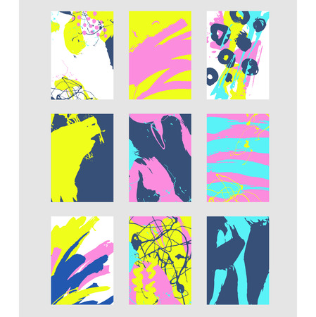 Illustration pour Set of multicolor abstract pattern with creative texture. Vector illustration of paint strokes, spray. Hand drawn background. - image libre de droit