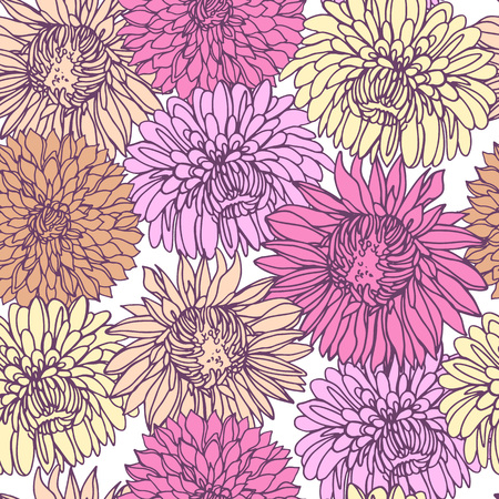 Illustration pour Seamless background with chrysanthemums in sketch style. Beautiful flowers pattern. - image libre de droit