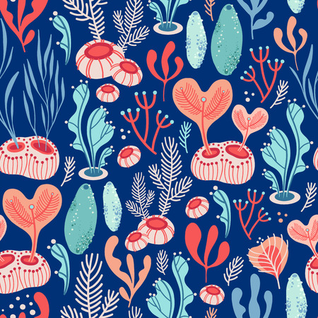 Illustration pour Vector seamless pattern on blue background with seaweed, sea sponges and corals. Abstract illustration with floral elements. Natural design. - image libre de droit