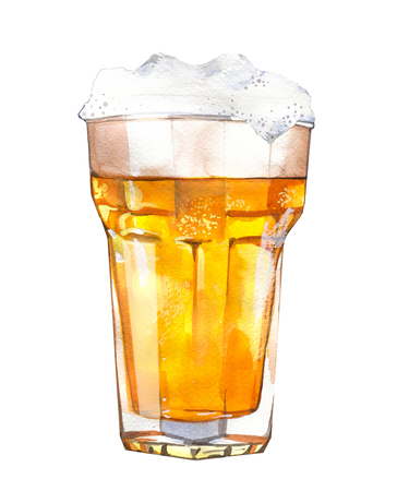 Photo for Oktoberfest. Watercolor  with glass of beer and snack - Royalty Free Image
