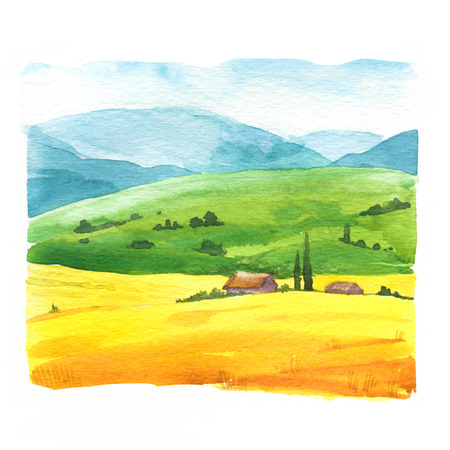 Photo for Watercolor  with landscape field. - Royalty Free Image