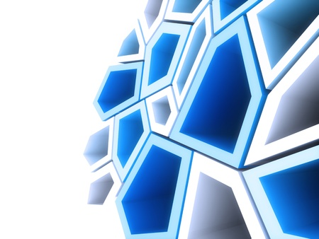 Geometrical background with blue and white shapes
