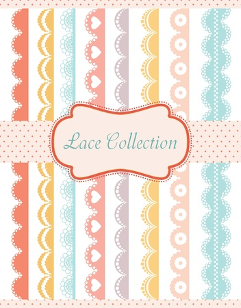 straight lace collection. vector illustration