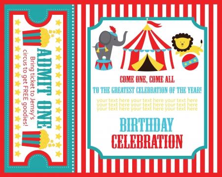 Kid Birthday Invitation Card Design Vector Illustration Graficos