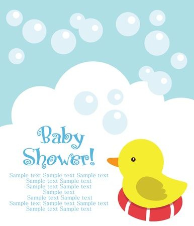 fun baby shower card. vector illustration