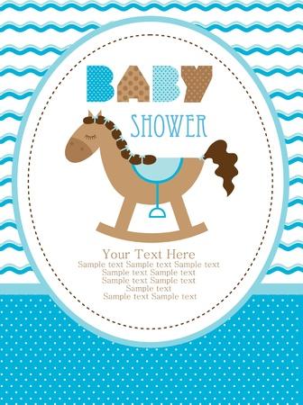 Photo pour baby shower design, cute toy horse. vector illustration - image libre de droit