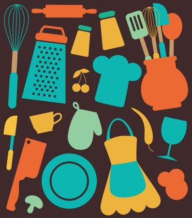 seamless kitchen pattern.