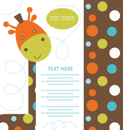 baby shower with cute giraffe. vector illustration
