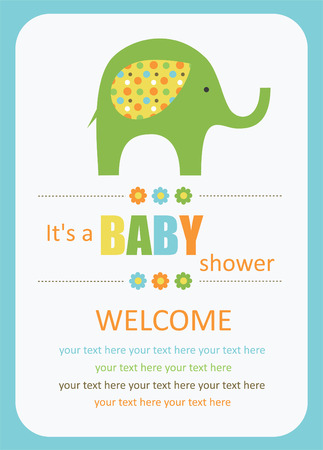 cute baby shower card with cute elephant. vector illustrationのイラスト素材