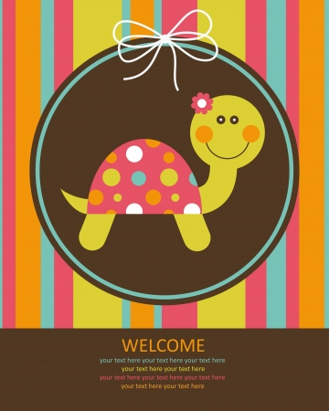 cute baby card with nice turtle. vector illustrationのイラスト素材