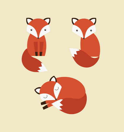 cute fox collection. vector illustration