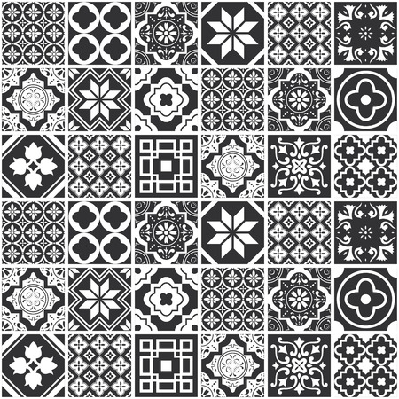 Illustration for Decorative monochrome tile pattern design. Vector illustration. - Royalty Free Image