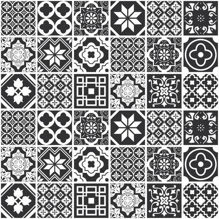 Illustration pour Decorative monochrome tile pattern design. Vector illustration. - image libre de droit
