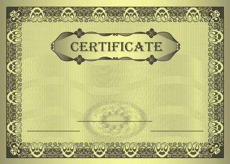 Photo pour raster Certificate gold Frame ornament A4 template  - image libre de droit