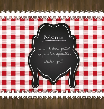 blackboard menu tablecloth lace chicken