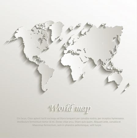 World map card paper 3D nature