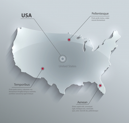 Vector Usa Map Glass Card Paper 3d America United States Royalty - Free-3d-us-map