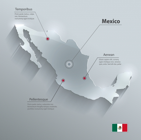 Mexico map flag glass card paper 3D