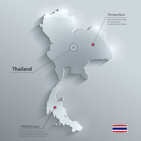 Thailand map flag glass water card paper 3D