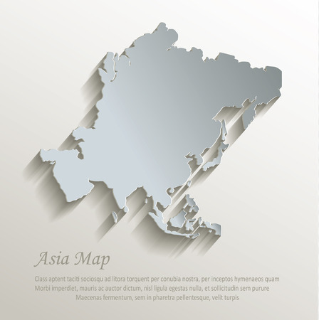 Asia map white blue card paper 3D vector
