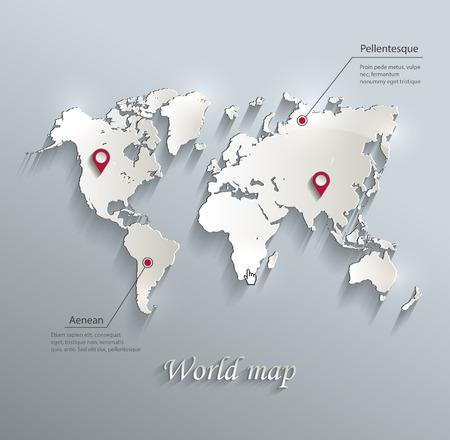Illustration pour World map blue white card paper 3D vector infographics - image libre de droit