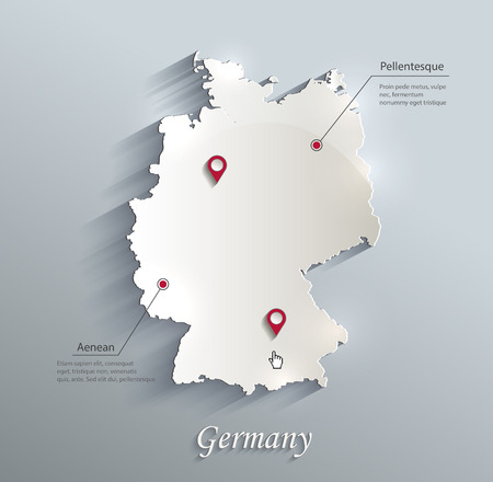 Germany map blue white card paper 3D vector
