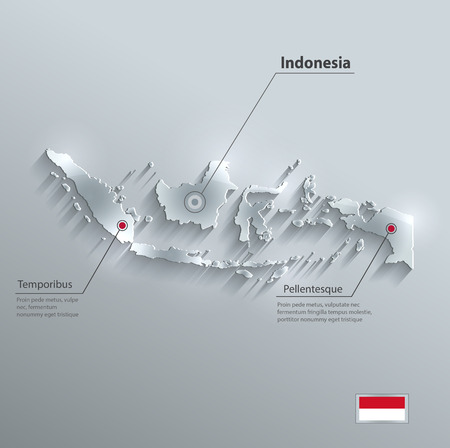 Indonesia map flag glass card paper 3D vector