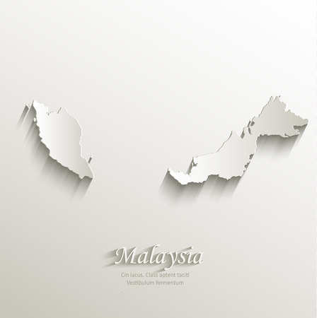 Malaysia map card paper 3D natural vector