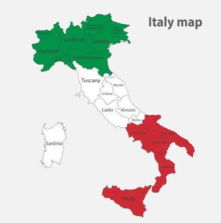 Illustration for Map of the Italy in the colors of the flag with administrative divisions vector - Royalty Free Image