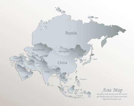 Illustration pour Asia map, separate states with names, white blue card paper 3D vector - image libre de droit