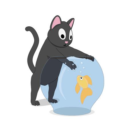 Cat and fish in the aquarium. The cat hunts a goldfish that swims in an aquarium.