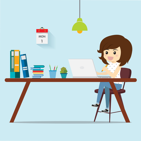 Illustration for Freelance women thinking work for customers. - Royalty Free Image