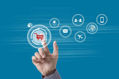 Photo pour business hand point cart shopping online payment e-commerce internet technology market concept.  - image libre de droit