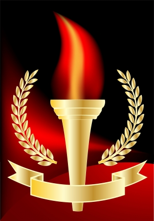 Vector - sports competition torch on red and black background
