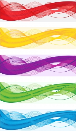 A set of abstract banners for web header of different colors