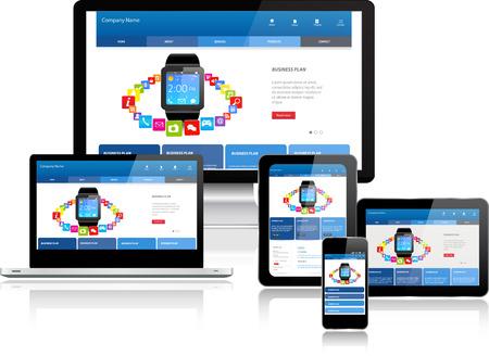Ilustración de Responsive website template on multiple devices - Imagen libre de derechos