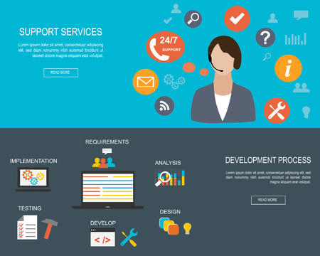 Flat designed banners for Support Services and for Development Process