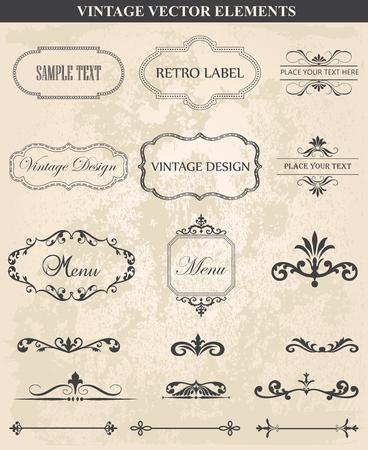 Decorative vintage set of calligraphic design