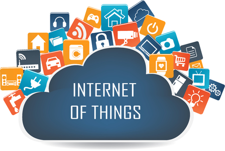 Ilustración de Internet of things concept and Cloud computing technology Smart Home Technology Internet networking concept. Internet of things cloud with apps.Cloud computing technology device.Cloud Apps - Imagen libre de derechos