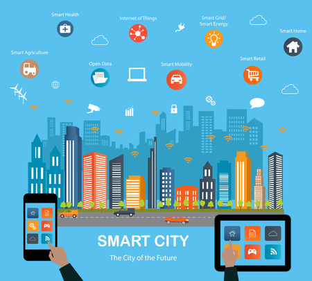 Smart city concept with different icon and elements. Modern city design with  future technology for living. Illustration of innovations and Internet of things.Internet of things/Smart city